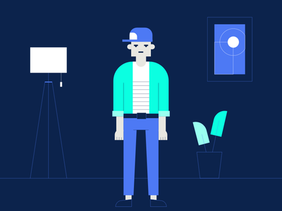Bad Boy cap art plants vector hipster lamp interior illustration guy man character