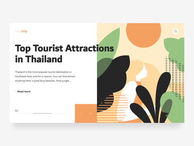 Travel Blog Slider Concept interface illustration web design uidesign blog travel experience nature peace trip jungle plants