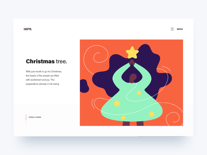 Header Illustration - Xmas Is Coming flat christmas tree line landing page web ui girl vector character illustration winter xmas