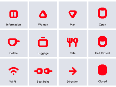 Airline Globeair Icons open wifi seatbelts cafe luggage information tourism clean airline illustrator cc icons vector