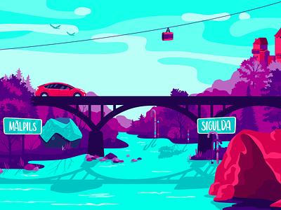 RoadGames Illustration game app car trip landscape roadgames latvia nature illustration