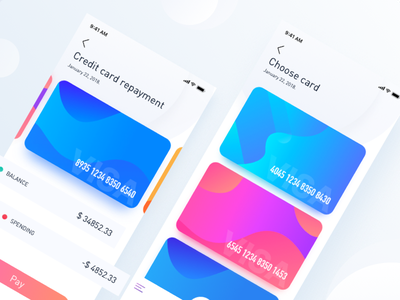 Virtual project, credit card repayment gradients colors finance credit cards