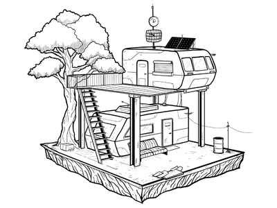 Ready Player One house ink illustration