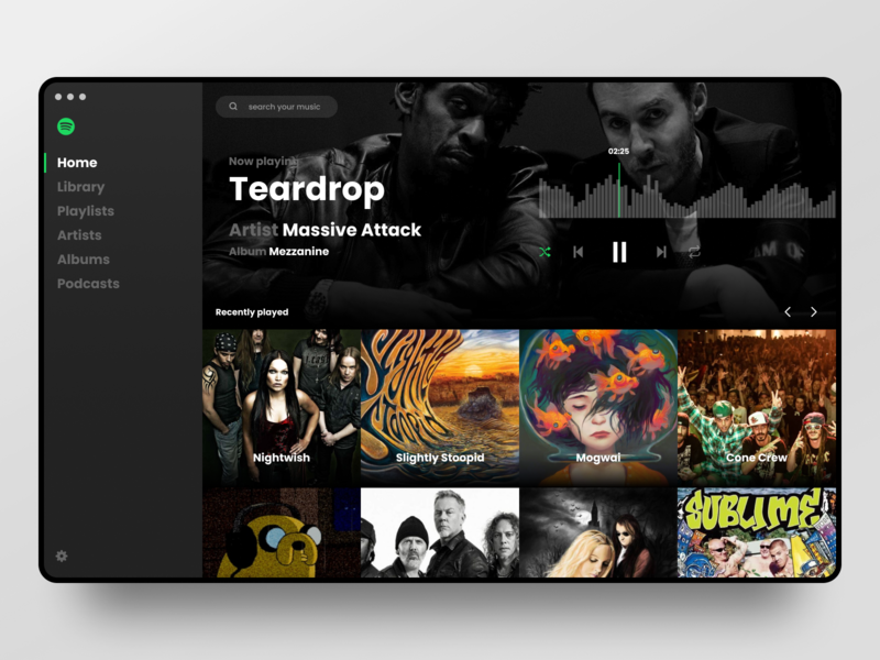 Spotify Skin player music web redesign ui spotify