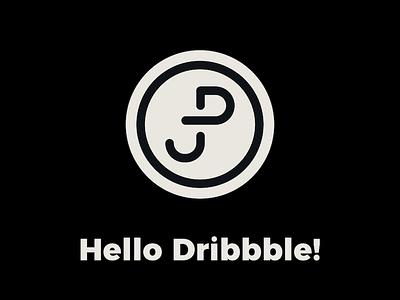 Hello Dribbble! pro simple minimal minimalism graphic dribbble debut logo design pogran jonatan jp