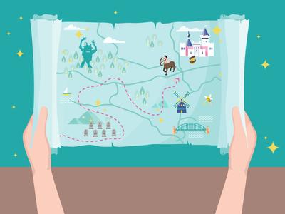 Fantasy Map fantasy map vector illustration