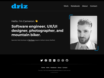 driz.co.uk 2020 portfolio personal website web