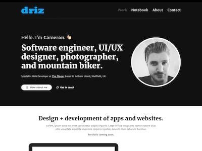driz.co.uk 2020 continued... portfolio website personal redesign