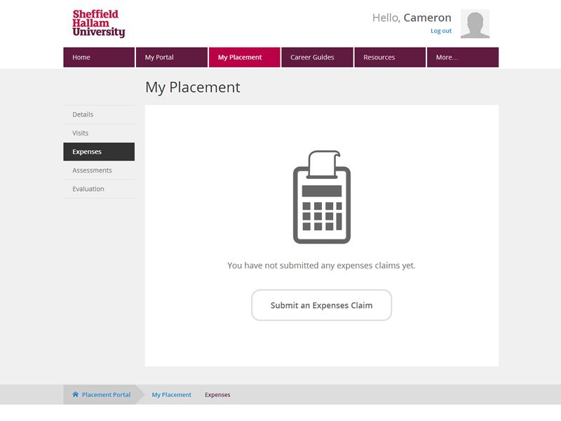 Placement Portal - Expenses portal education placement university expenses