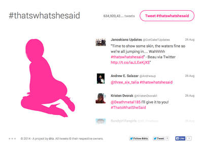 That's What She Said web website app twitter one page