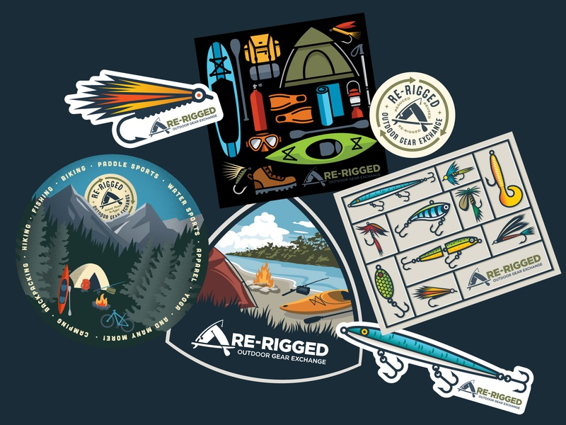 ReRigged Stickers fishing camping outdoor gear logo illustration stickers