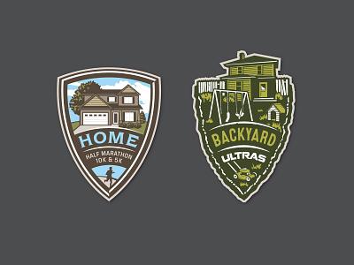 Staycation Races illustration yard marathon house shield logo