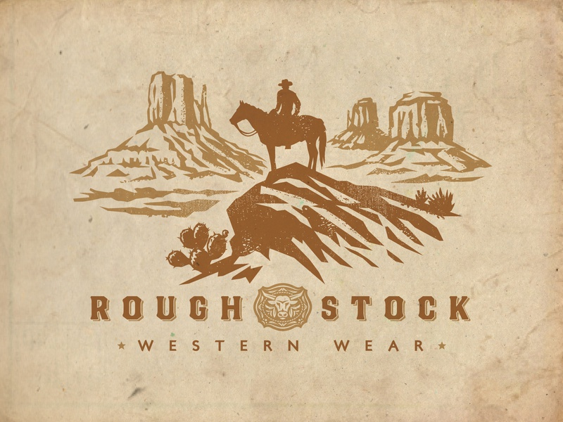 RoughStock Western Wear logo clothing illustration western scenery cowboy