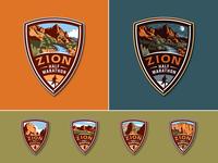 Zion Half Marathon logo medal badge runner scenery marathon zion