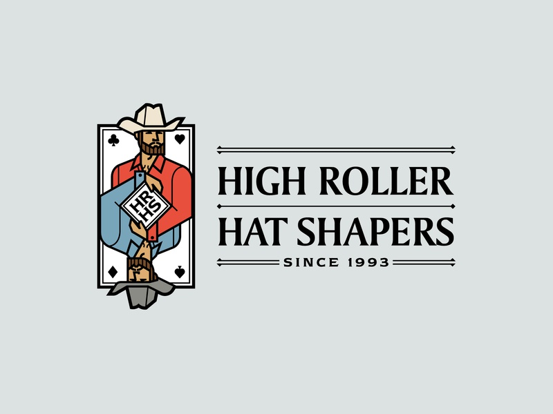 Hat Shapers logo card poker casino cowboy cowboy hat