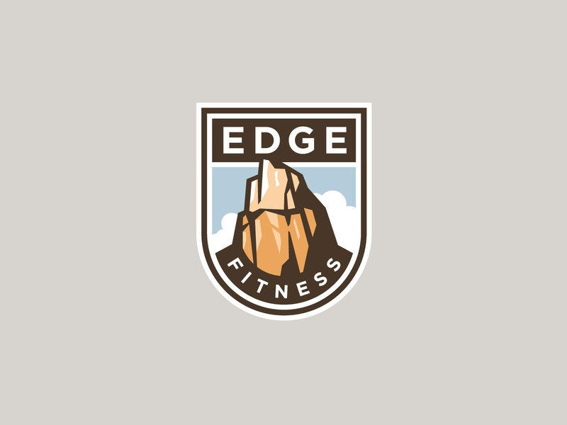 EdgeFitness fitness zion scenic cliff rock shield logo