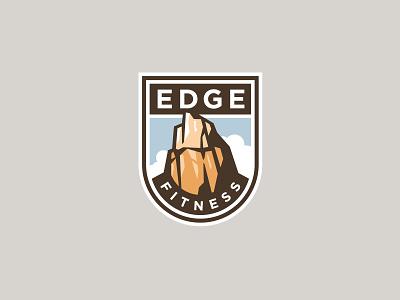 EdgeFitness fitness zion scenic cliff rock shield logo