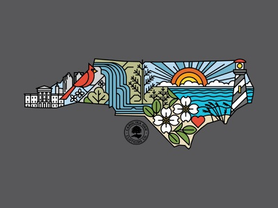 North Carolina lineart travel illustration north carolina state