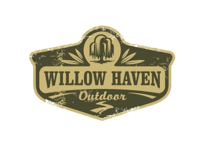 Willow Haven Outdoor crest willow tree leaf trail outdoors logo badge