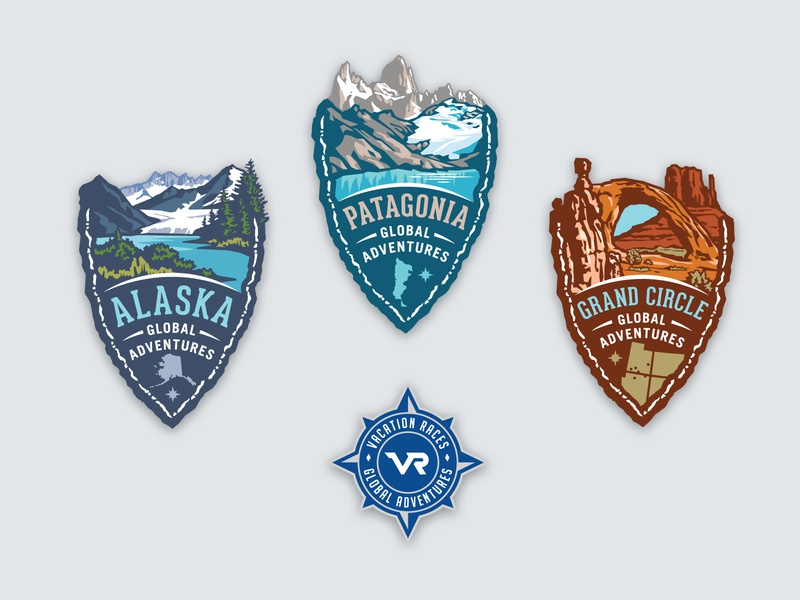 VR Global Adventures medal shield logos mountains illustrative scenery grand circle alaska patagonia marathon adventure compass