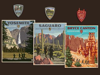 VR Posters runners national parks scenery medal logo poster marathon