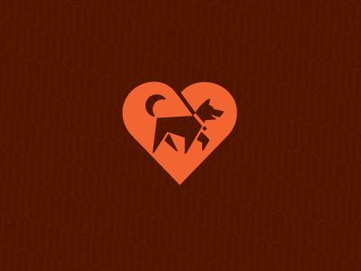 DogWalking service heart dog pet care walking icon logo