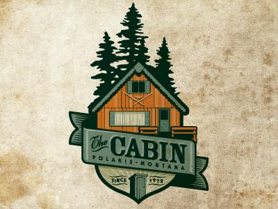 The Cabin cabin trees crest woods logo badge emblem enclosure