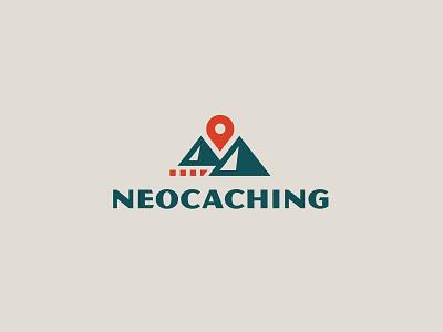 Neocaching logo map logo explore trail mountains