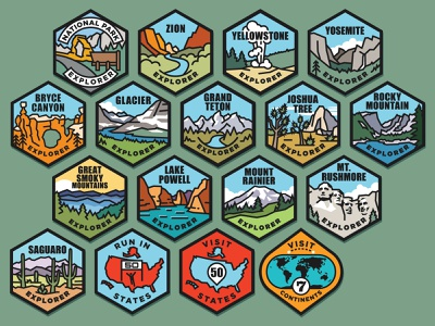 Challenge Badges scenery marathon illustration badge travel national park