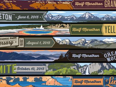 VR ribbons, logos, back of medals races national parks scenery medal logo illustration ribbon