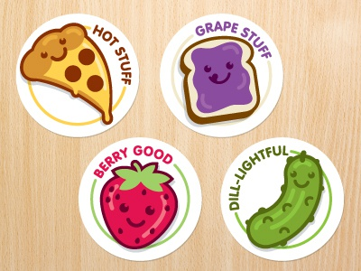 Scratch N' Sniff ames jerron illustration characters smell grape strawberry pickle pizza sticker food