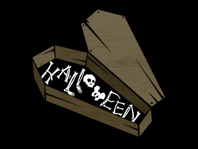 Halloween bones scary coffin letters
