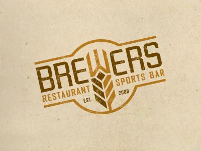 Brewers brewer restaurant logo crest wheat grain