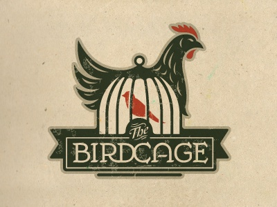 The Birdcage logo crest chicken bird cage badge