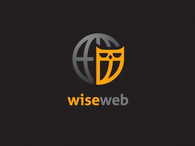 wiseweb logo world globe owl