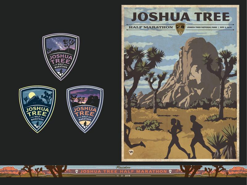 Joshua Tree Half Marathon scenery ribbon poster logo