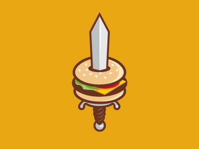 Medievel Burger hamburger sword logo