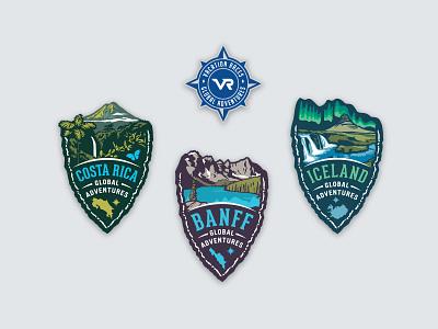 Vacation Races Global Adventures scenic compass race marathon scenery vacation badge logo