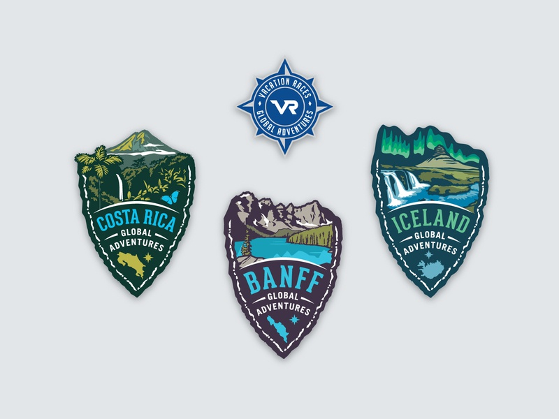 Vacation Races Global Adventures scenic compass race marathon scenery vacation badge logo