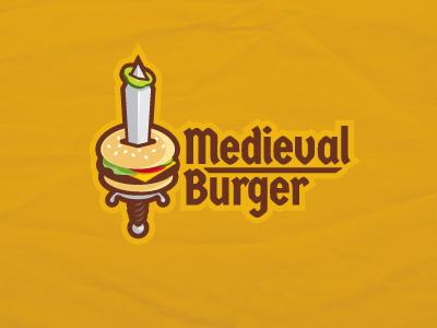 Medieval Burger2 sword hamburger food logo