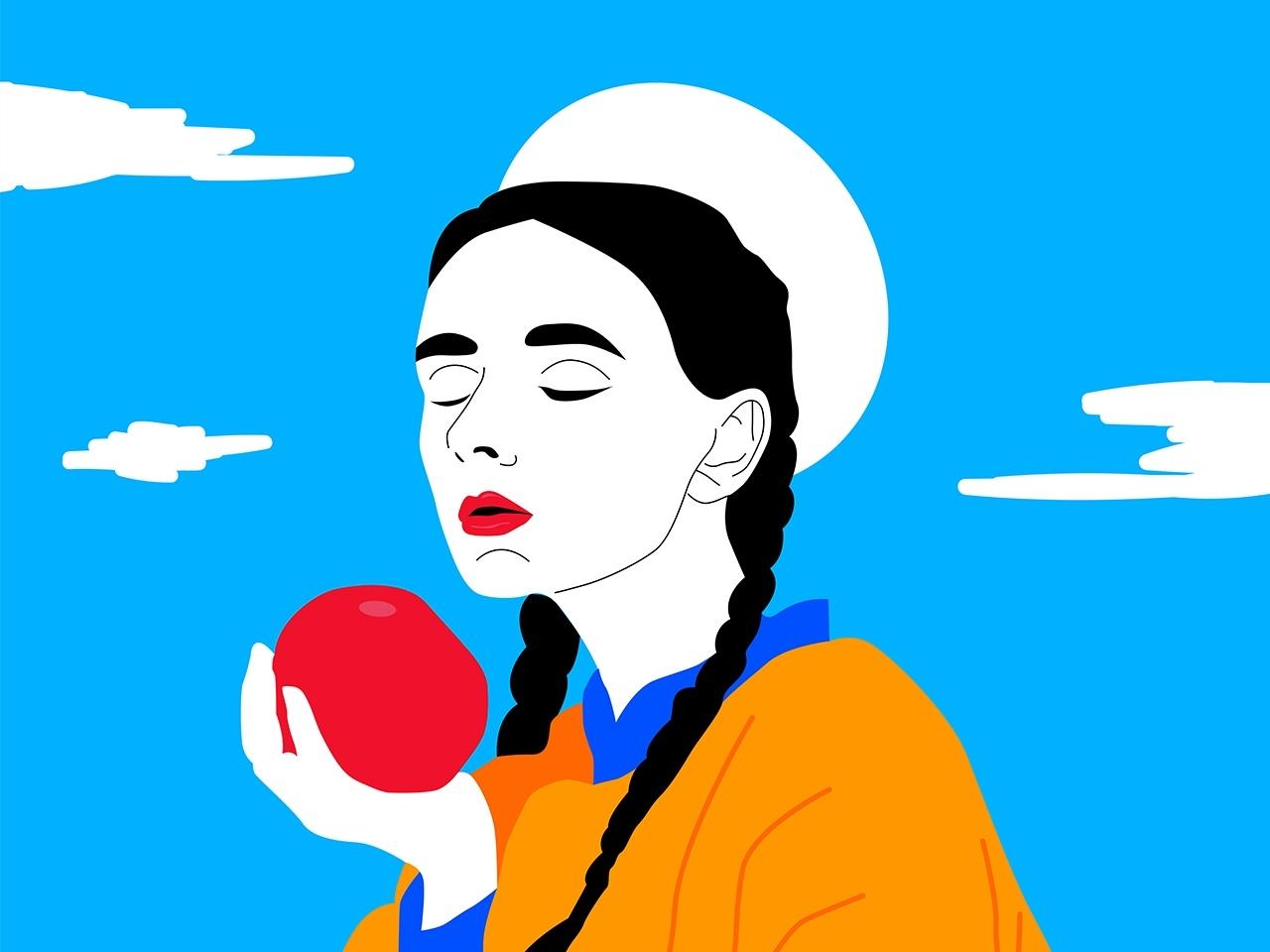 Anna sky girl aple color digitalart art illustraion disign