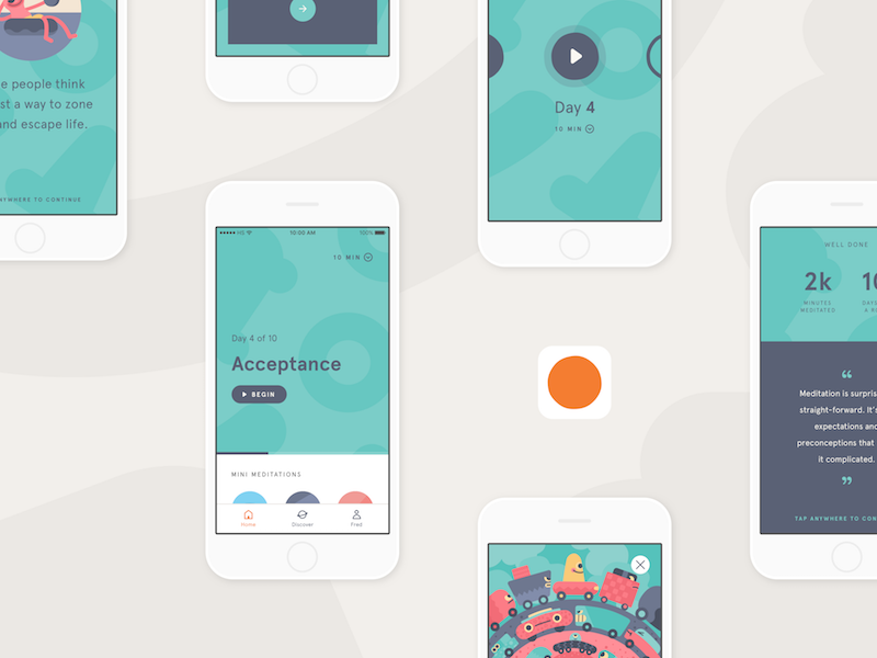 The New Headspace meditation pattern art direction web android ios mobile design system ui