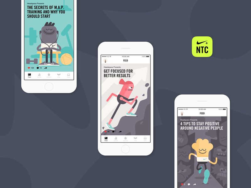 Headspace x Nike Training Club mobile interface ui illustration art direction
