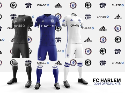 FC Harlem 2016 Kits – Front and side views football chase uft adidas chelesafc chelsea uniforms soccer-kits kits jersey soccer fcharlem