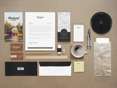 Madewell Home Identity Preview brand logo madewell construction print identity mock business card organized neatly stationery