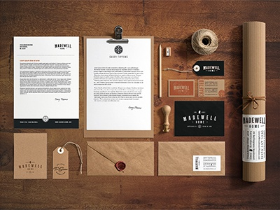 Madewell Home Brand Collateral madewell home brand logo branding wood construction building stationery