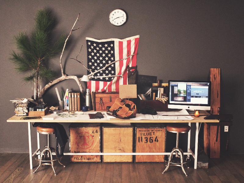Workspace desk office design studio workspace vintage old