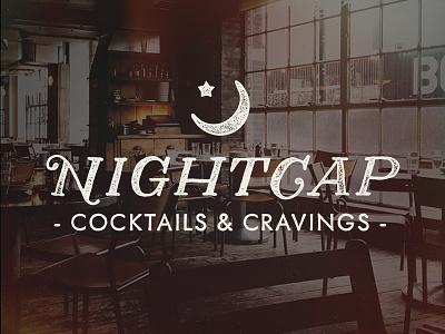Nightcap nightcap branding texture distress logo cocktails bar coffee