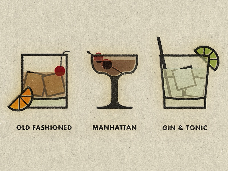 Cocktails whiskey old fashioned drink cocktail illustration vintage manhattan gin tonic