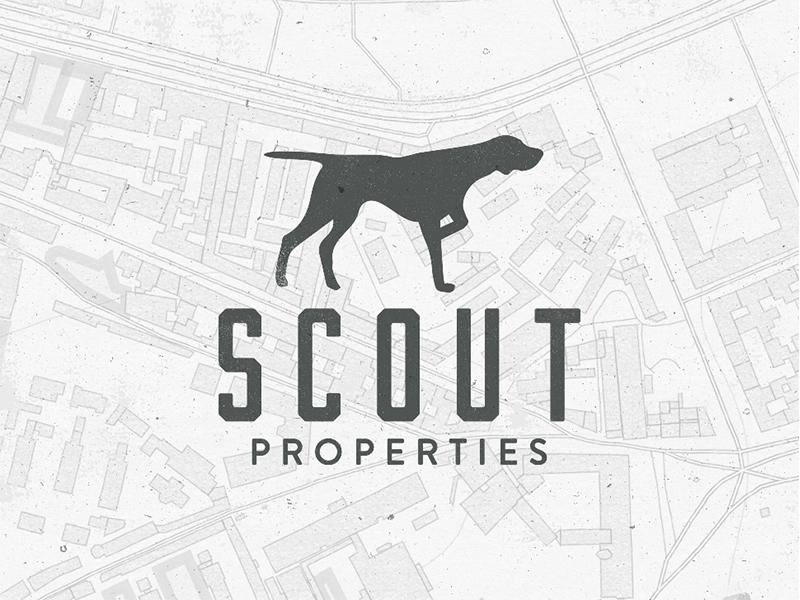 Scout properties pointer dog realty estate real branding logo
